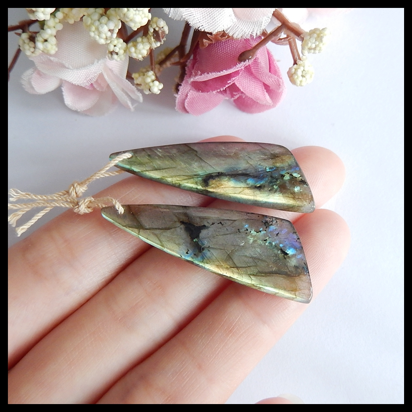 Labradorite fashion women earringWholesale!Fashion Jewelry For WomenEarrings Accessories41x14x4mm7.6g