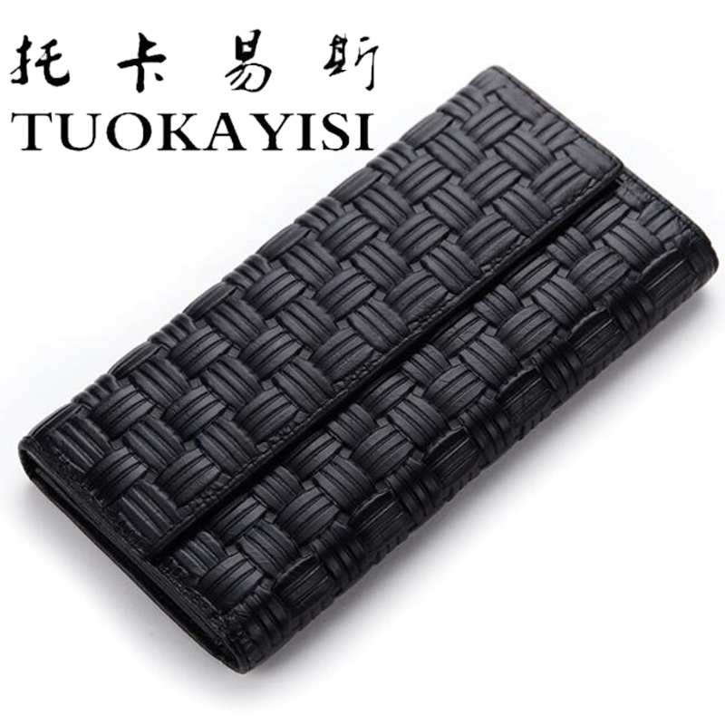 tuokayi Fashion Women Purse Women Knitting Genuine Leather Wallet Female Clutch Vintage Long Wallets Women Luxury Brand Carteira