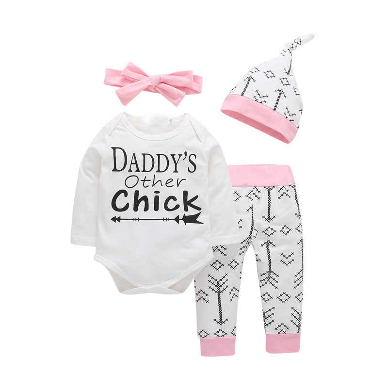 4PCS Sets Newborn Infant Baby girls clothes Daddy's Other Chick Bodysuit+Love Arrow Pants+Hat+Headband Toddler Bebe Girl Outfit