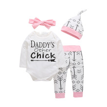 4PCS Sets New born Infant Baby girls clothes Daddy's Other Chick Bodysuit+Love Arrow Pants+Hat +Headband Toddle Girl Outfit