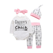 4PCS Sets Newborn Infant Baby girls clothes Daddy's Other Chick Bodysuit+Love Arrow Pants+Hat+Headband Toddler Bebe Girl Outfit(China)