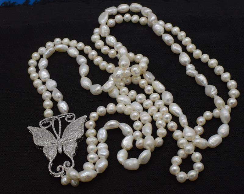 2rows freshwater pearl white near round and baroque &butterfly pendant  necklace 28-30inch FPPJ wholesale beads nature 2rows freshwater pearl white near round and baroque &butterfly pendant  necklace 28-30inch FPPJ wholesale beads nature