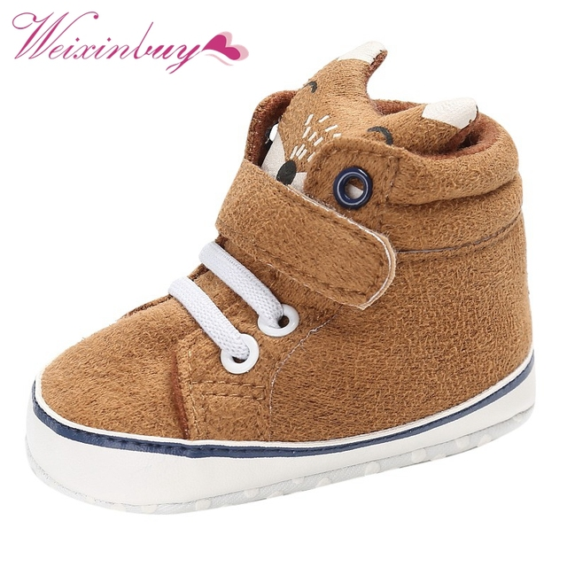 1 Pair Autumn Baby Shoes Kid Boy Girl Fox Head Lace Cotton Cloth First Walker Anti-slip Soft Sole Toddler Sneaker  3