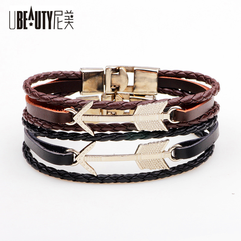 UBEAUTY New Hot Punk Style Alloy Silver Color Feather Charm Leather Cuff Braided Bracelet for Women Men