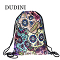 DUDINI New Fashion Lunch Backpack Unisex Mexican Skull Women Backpacks Blue Softback 3D Print Polyest