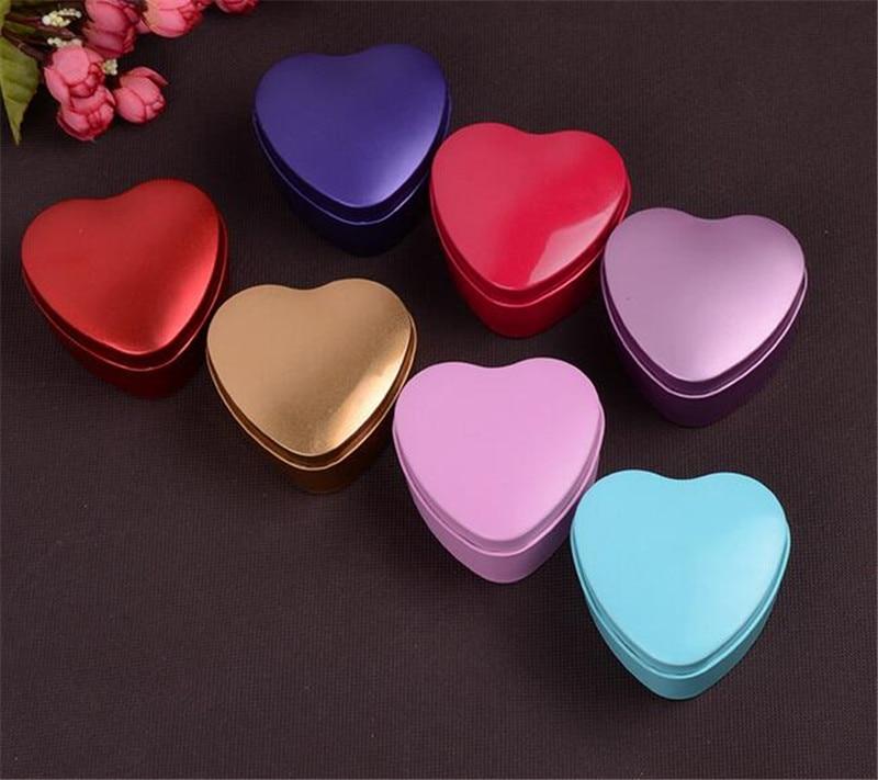 500pcs MOQ 500 pcs 1 color Heart Metal Coins Candy Case Makeup Jewelry Tin Box Candy