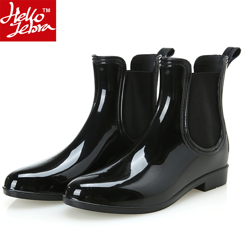 Rain Boots 2016 Waterproof Fashion Women Ankle Rubber Boot Elastic Band Solid Color Rainday Women Shoes Low Heel Rainboots  New hellozebra women rain boots waterproof fashion rubber elastic band solid color raining day shoes low heel 2017 autumn new href
