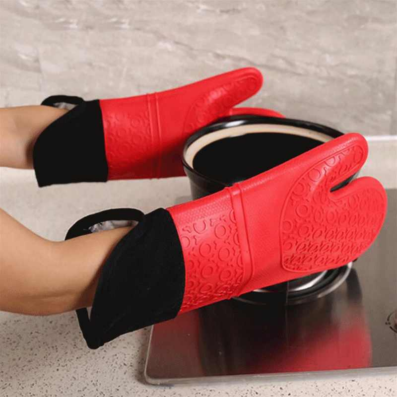 Silicone Heat-Resistant Gloves Cooking Barbecue Gants Kitchen Microwave Mittens Oven Glove Home Cleaning Tools High Quality
