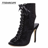 Star Same Style Spring And Summer Hollow Fish Mouth Boots Rome Strappy Heels Sexy Night Shop