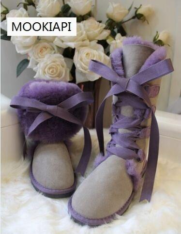 Free shipping 2019 high snow boots Women s warm boots high quality Australia genuine sheepskin boots