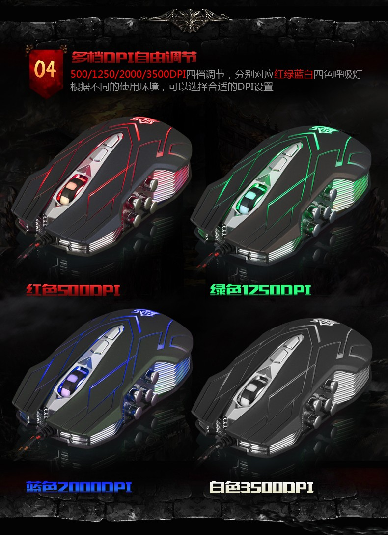 Hongsund NEW Suzaku II Gaming mouse+800/1200/1600/2400 DPI +USB 3D Professional Competitive Gaming 9 Buttons Mice 32