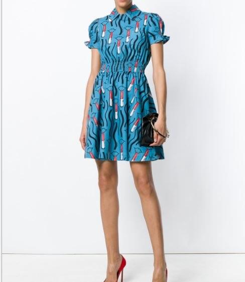 2018 летнее платье модные женские туфли Бесплатная доставка Новый хлопок с принтом в виде губ синий приталенное платье