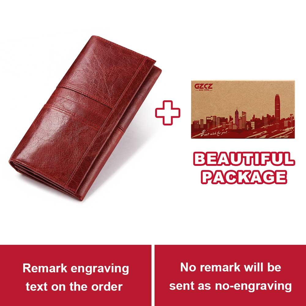 GZCZ, натуральная кожа, женский модный клатч, кошелек, Женский кошелек, портмоне, зажим для телефона, сумка, длинный, женский, удобный держатель для карт - Цвет: Red-L-BOX