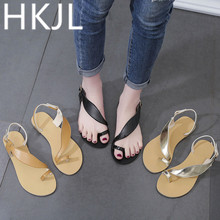 HKJL Fashion Women 2019 summer new casual toe slip-on sandals womens one-button flats size shoes A348