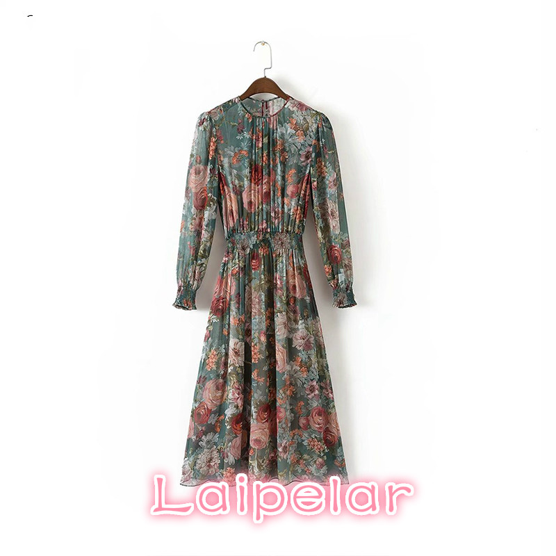 Summer 2018 Women Vintage Floral Print Beach Dress Long Sleeve O Neck Casual Chiffon Elastic Waist Laipelar