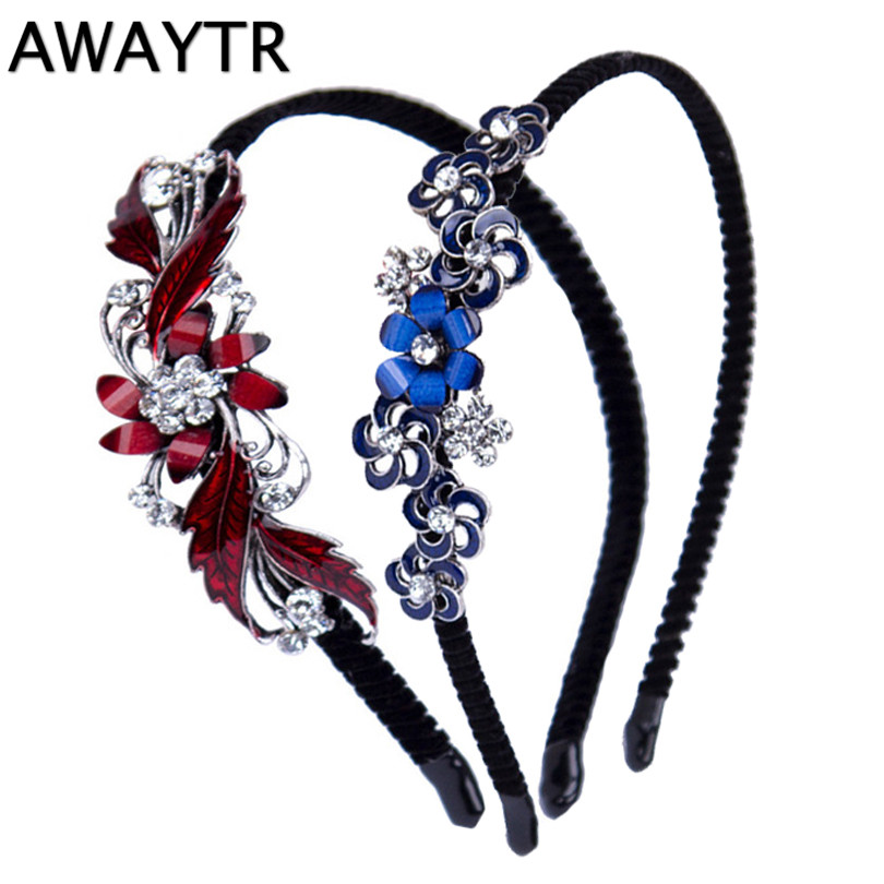 AWAYTR 1 PC Women Girls Retro Rhinestone Crystal Headband Party Jewelry Butterfly Flower Hairband Headwear Accessories Gift 1 pcs lot women crystal beads hairband awaytr new black side flower hair band headband for girls 2017 korean style headwear