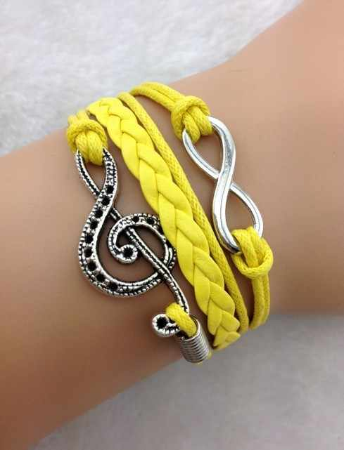 1pcs Infinity &Musical Note Charm Bracelet-Silver, Wax Cords and Leather Braided Bracelet- 1790 Min order 10$