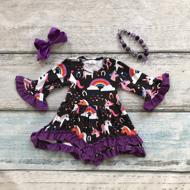 spring girls baby kids clothes  ruffles rainbow cotton unicorn purple lace dress boutique flare sleeve matching accessories