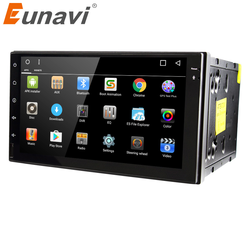 Eunavi 7'' Quad core 2 din Android 7.1 universal Car Radio Audio Stereo Head Unit GPS Navigation 1024*600 HD black body wifi bt joying 7 double 2 din android 6 0 universal car radio quad core 1024 600 hd car gps navigation best head unit car pc
