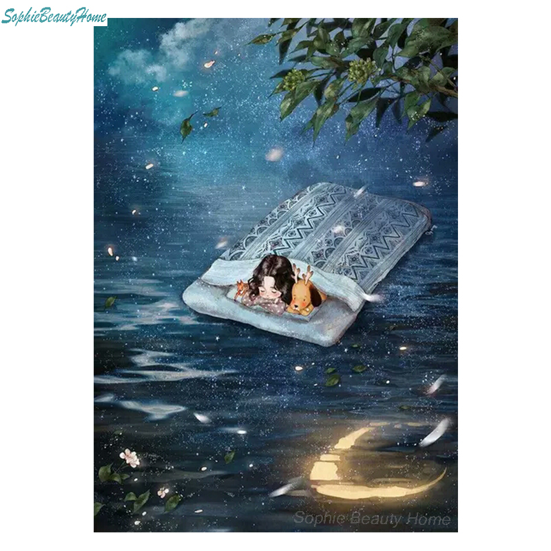 5D DIY Diamond Embroidery Cartoon Moonlight Kids Full Square / Round Rhinestone Photo Diamond Painting Mosaic Decorate Your Home