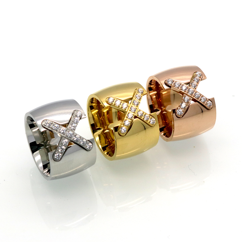 New Arrival Gold Color Ring Bijoux 14mm Width Big Pave Setting CZ Cross X Ring For Women Trendy Crystal Jewelry Wholesale Gift 3