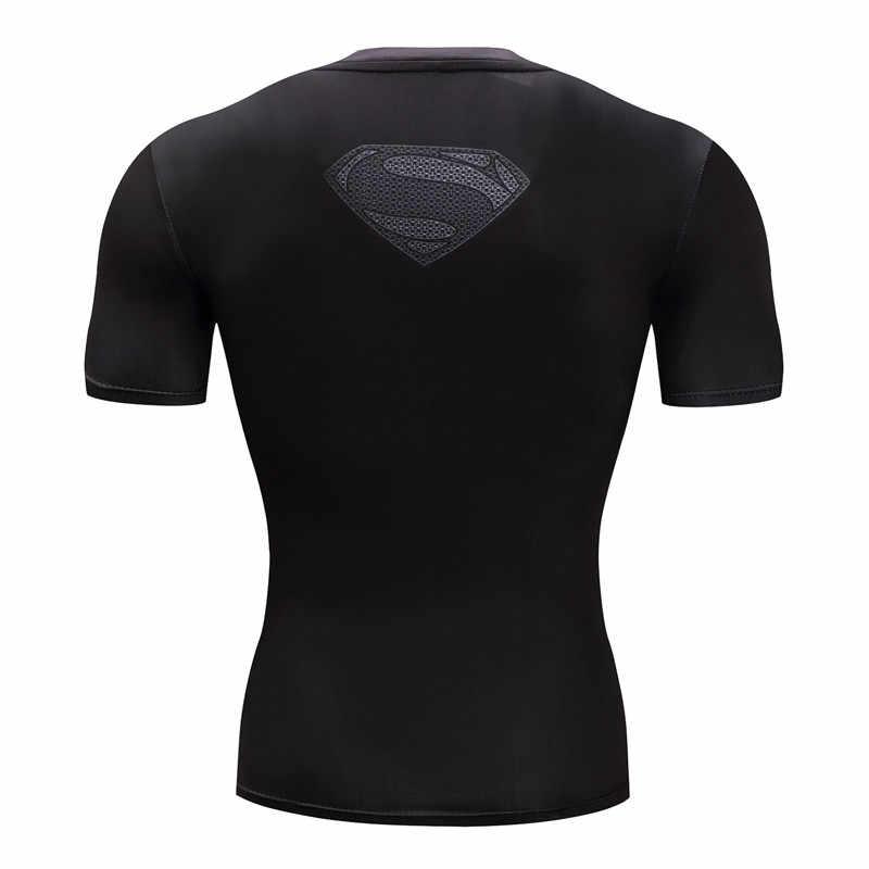 수퍼맨 티셔츠 남성 압축 셔츠 배트맨 탑스 플래시 티셔츠 피트니스 티셔츠 보디 빌딩 카미 세타 러쉬 가드