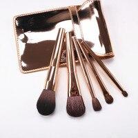 Korean Fashion 5pcs Makeup Brushes Kit Gold Handle Goat Hair Cosmetic Brush Set With Gold Bag