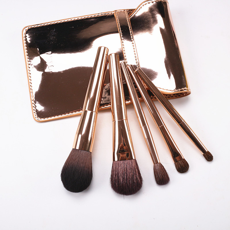 Korean Fashion 5pcs Makeup Brushes Kit Gold Handle Goat Hair Cosmetic Brush Set with Gold Bag Blush Eye Shadow Brush