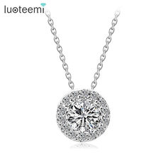 LUOTEEMI Brand Women Necklace White Gold-Color Round Pendant Necklace With Paved Micro AAA Cubic Zircon Jewelry for Women Party(China)