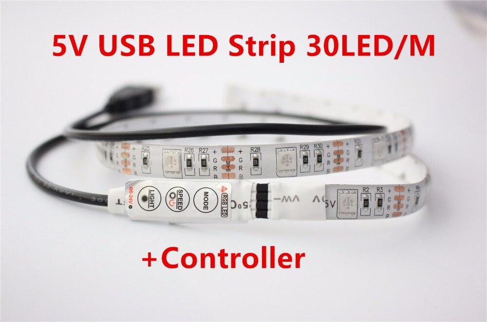 White PCB 0.5M 5V USB LED strip 5050 RGB flexible light IP65 Waterproof 60LED/m,TV Background Lighting Strip with controller