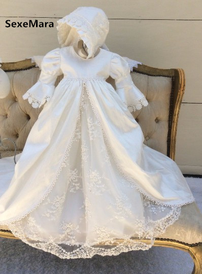 Vintage Infant Girls Christening Gown White Ivory Baptism Dress Lace Applique Robe for Baby Girls Boys Size 0-24 month with Hat