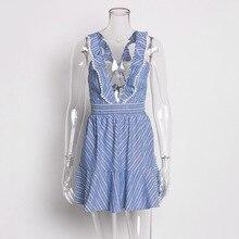 Women Casual Camis Blue Stripes V Neck Dress