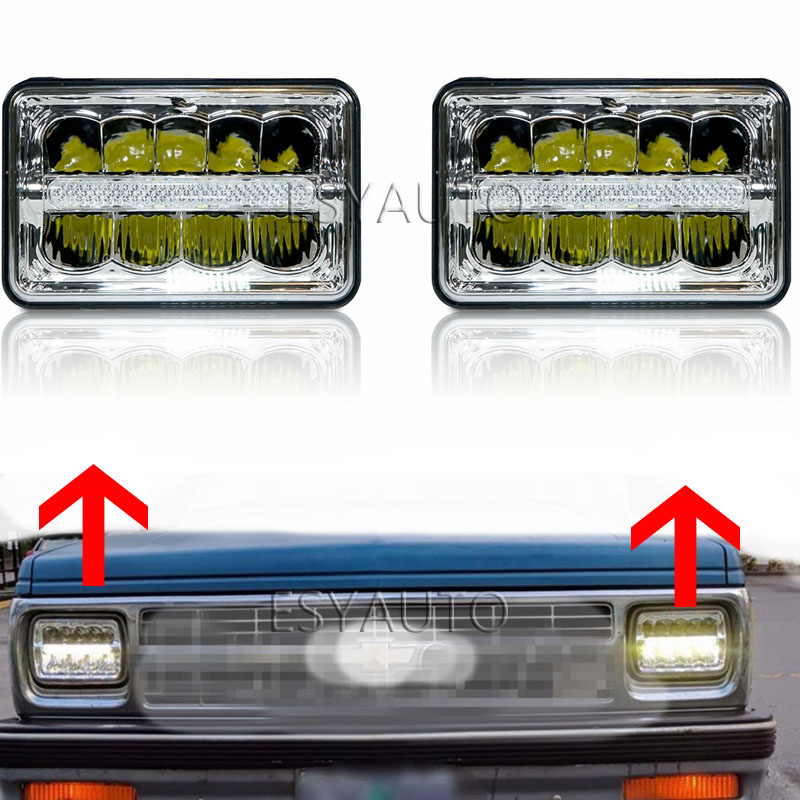 Car LED Light 4x6 inch Rectangular Led Work Light DRL Hi/Lo Beam headlight For Chevy Camaro Peterbilt FreIghtliner Truck 2Pcs car light 4x6 inch rectangular led work light drl hi lo beam headlight for peterbilt freightliner truck 4pcs set