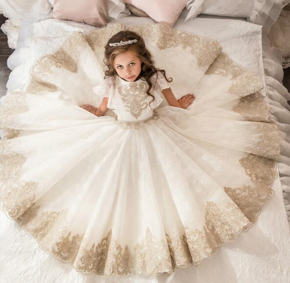 Vintage for Girls Birthday Dress Princess Custom Made Flower Girls Dresses Lace Applique First Communion Pageant Gown Any Size high low flower girl dresses beaded organza ruffles v neck first communion dress 2018 girls pageant gown custom any size