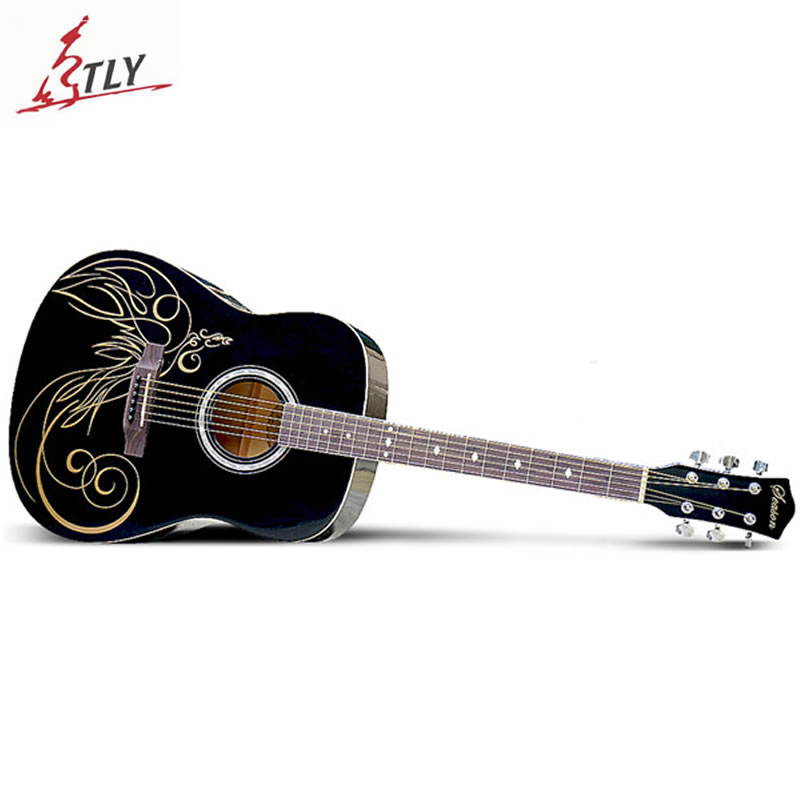 SAYSN 41 High Quality Basswood Art Acoustic Guitar 6 Strings Rosewood Fingerboard Guitarra With Backpack Capo Strap Strings high quality 38 acoustic guitar 38 18 high quality guitarra musical instruments with guitar strings