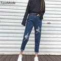 Foremode mulheres reta calça jeans feminina jeans de cintura alta calça jeans rasgado buraco denim calças calças de brim da estrela feminina haren calças
