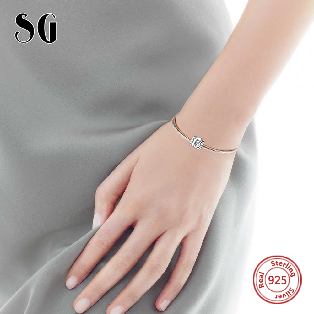 Silver Galaxy Authentic 925 Sterling Silver Camera Travel Charm Beads For Women Fit pandora Charms Bracelet DIY fashion Jewelry in Beads from Jewelry Accessories