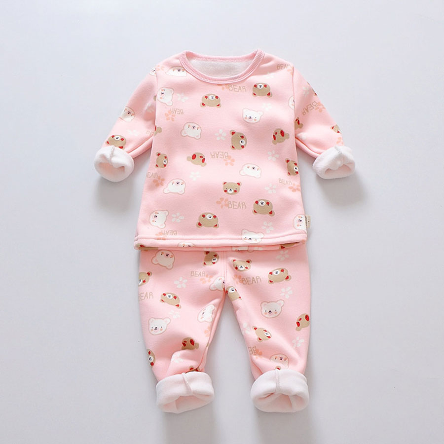 Girls Pajamas Set Winter Baby Warm Velvet  Thickening Long Sleeves Tops+Pants Suit 2pcs Kids Children Clothes Set Boy Pajamas