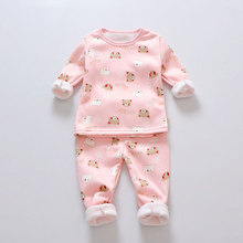 Купить с кэшбэком Girls Pajamas Set Winter Baby Warm Velvet  Thickening Long Sleeves Tops+Pants Suit 2pcs Kids Children Clothes Set Boy Pajamas
