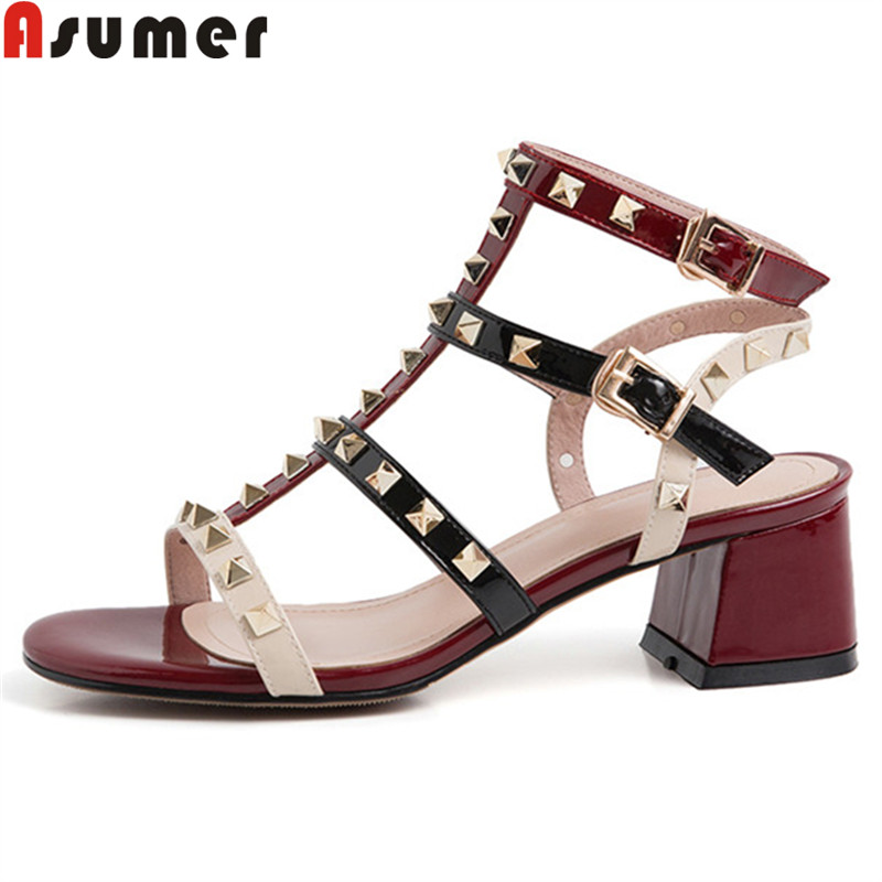 ASUMER Sandals Shoes High-Heels Ladies Patent New Cow Rivet Mixed-Colors Bckle