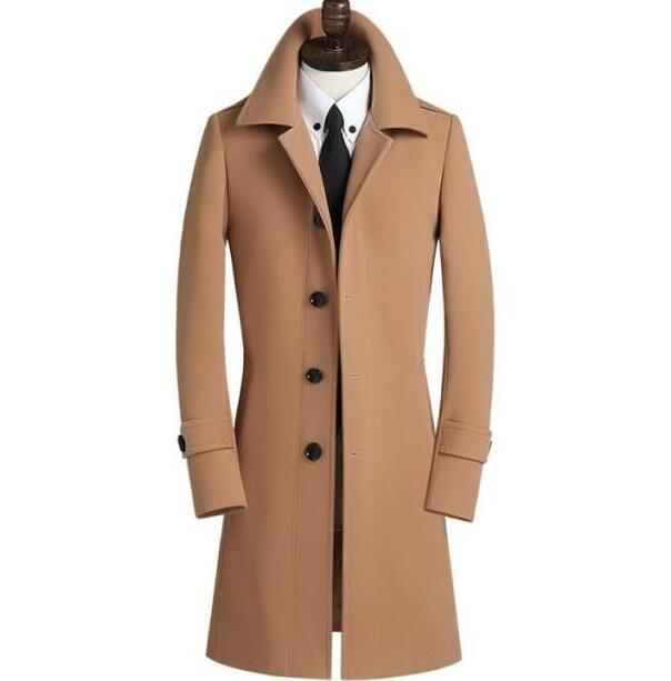 single breasted woolen coat men trench coats overcoat mens cashmere coat casaco masculino inverno erkek england  casual clothing