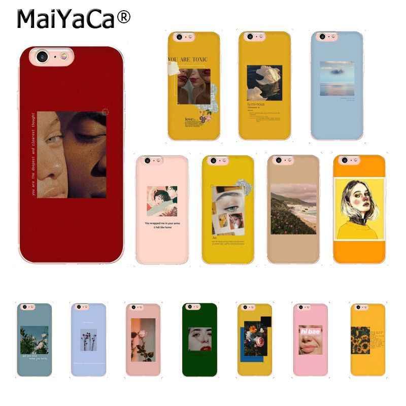 MaiYaCa grand art esthétique fleur vie jaune rouge peinture coque de téléphone pour iphone 11 Pro 11Pro MAX X XS MAX 6s 7 8Plus 5S SE XR