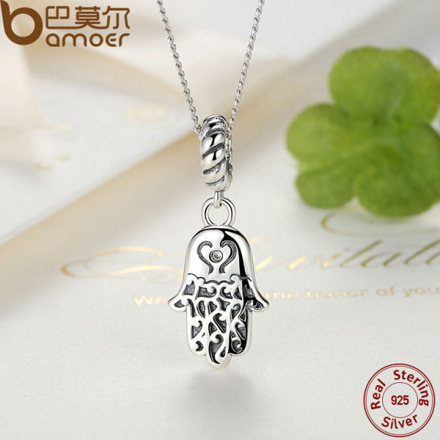 Sterling Silver Lucky Hamsa Pendant Necklace