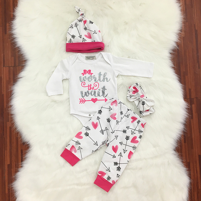 Hot PInk Newborn Baby Girl Fashion Clothes Romper Long Pants And Hat Headband Outfits 4Pcs Bebe Girls Clothing Wholesale Suits