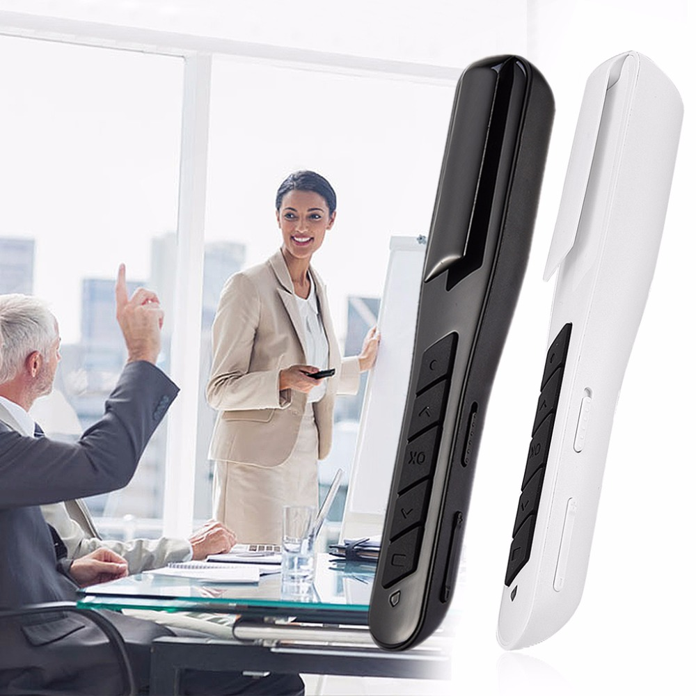 Wireless 2.4GHz USB Air Mouse Rechargeable PPT Clicker Presentation Pointer Laser Pen Control Over 10m