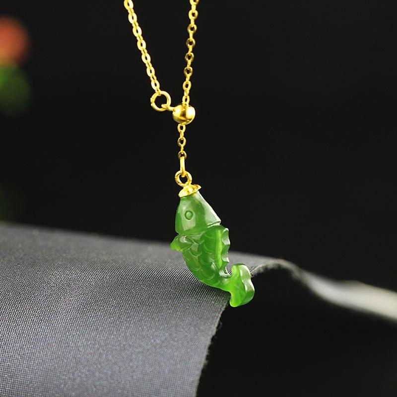 Золотой подвескаиз натурального камня зеленый камень в форме рыбы ожерелья