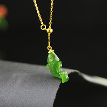 Gold Natural Hetian Green Stone Fish Shaped Necklaces