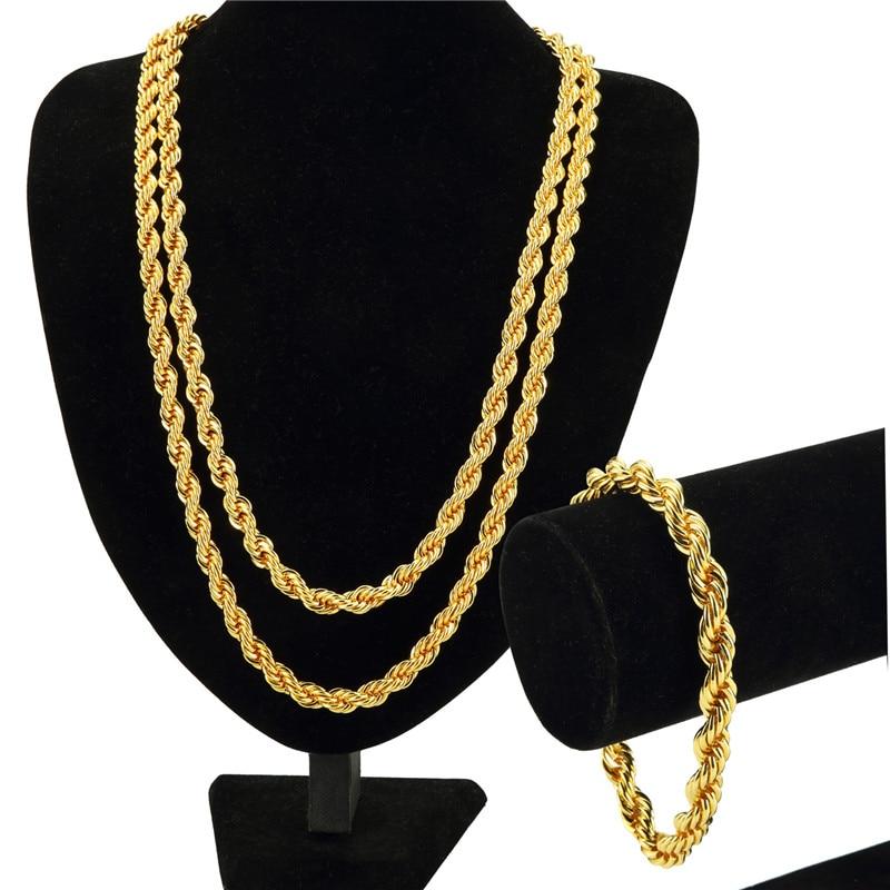 Hip Hop Jewelry Gift Set Rope T Chains Golden Necklaces Men Women Bling 0.9cm wide Super Thick Pendants Bracelets
