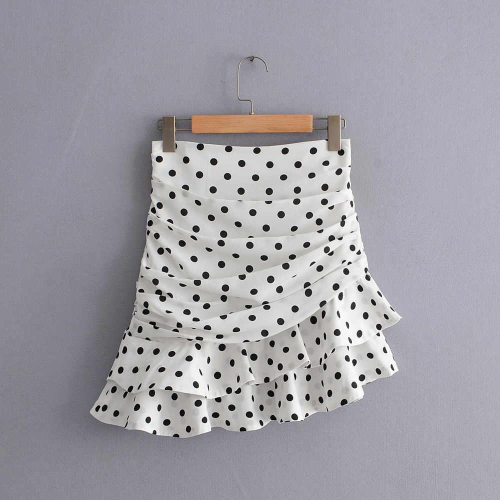 세련된 세련된 폴카 도트 인쇄 Ruched 비대칭 미니 스커트 Za 2019 패션 여성 스커트 캐주얼 Streetwear Jupe Femme