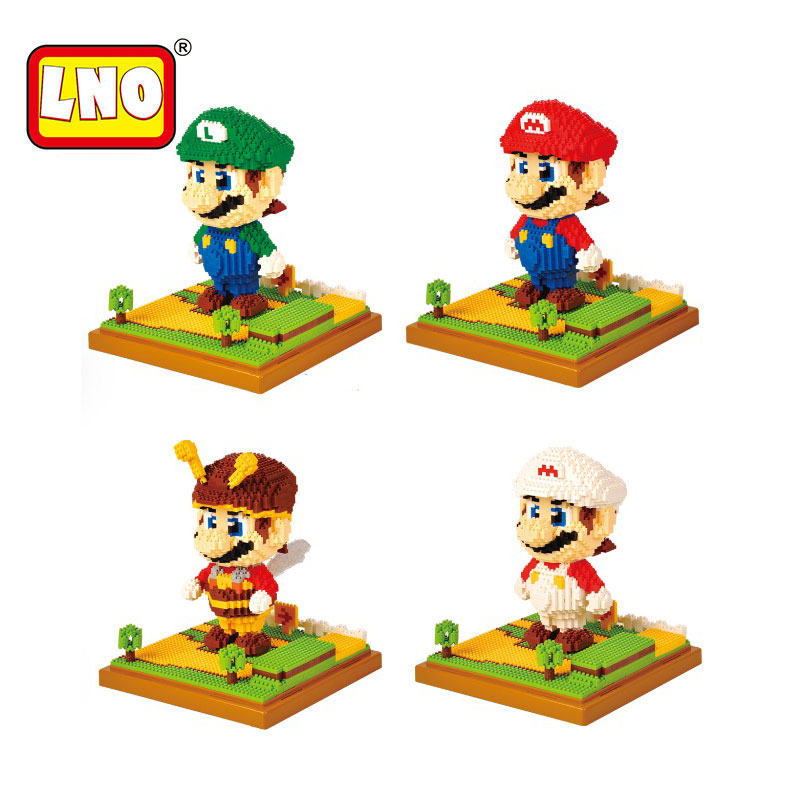 LNO big size super mario bros model action figures nano block micro diamond plastic building blocks diy bricks toys without box. игрушка заводная прыгающие питомцы заяц